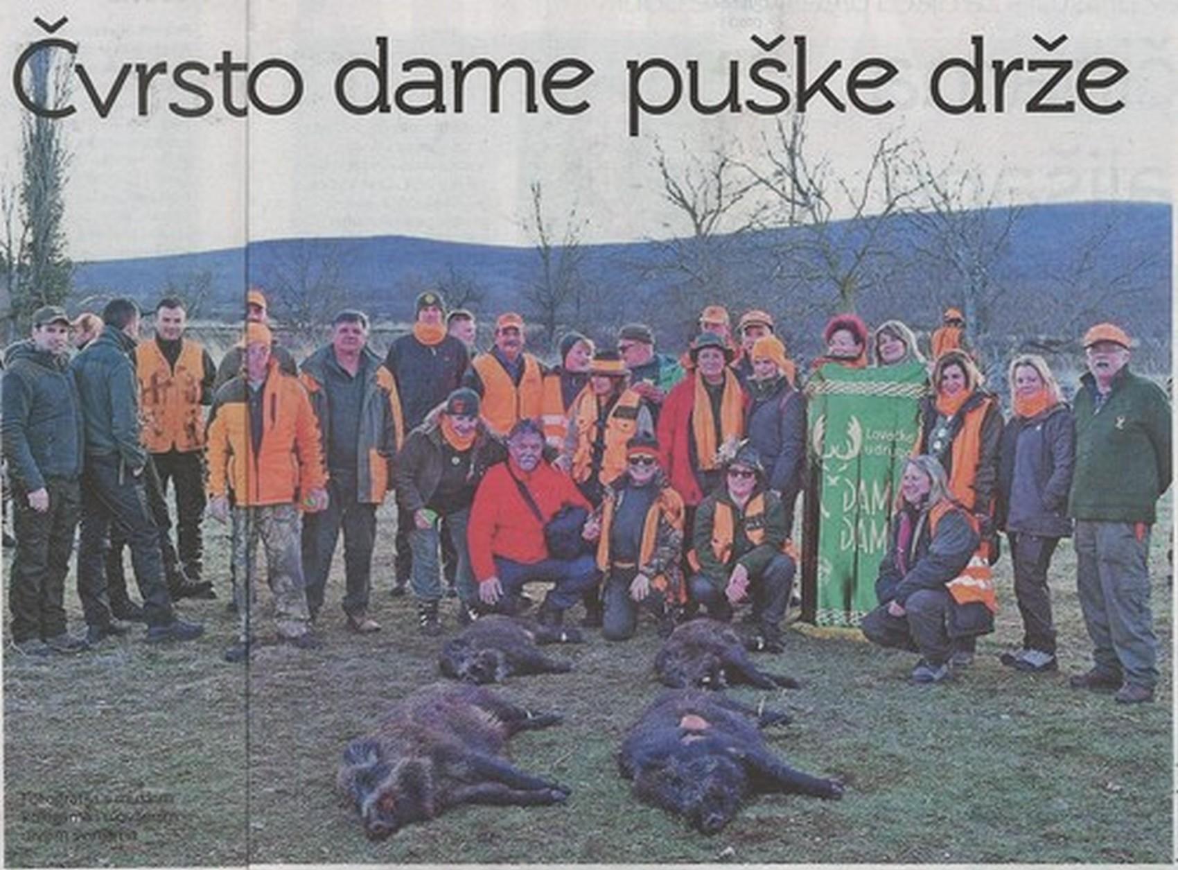 """Lovkinje iz LU """"Dama dama i njihove kolege lovili u lovu na divlje svinje u Bukovici"""